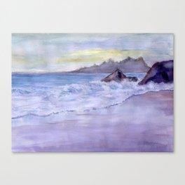 Wet Sand, Beach, Sunset, sea, mountains, waves, original, watercolor, blue, white, violet, yellow, w Canvas Print