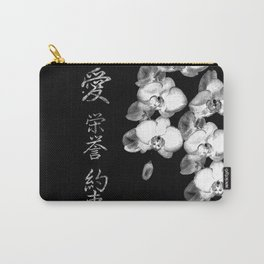 Japanese Orchids in Black Carry-All Pouch