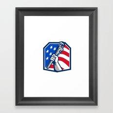 Plumber Hand Pipe Wrench USA Flag Retro Framed Art Print