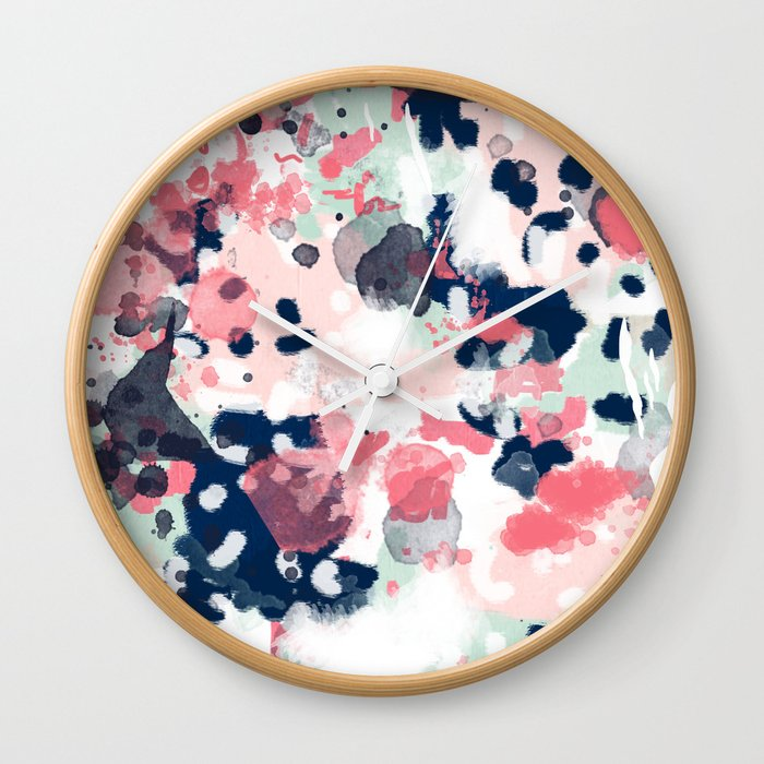 Hayes   Abstract Painting Minimal Trendy Colors Nursery Baby Decor Office  Art Wall Clock