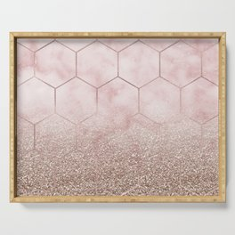 Glitter ombre hex - cloudy pink marble & rose gold glitter Serving Tray