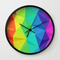 low poly Wall Clocks featuring rainbow low poly by tony tudor