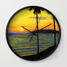 Pismo Beach, California- Sunset Wall Clock