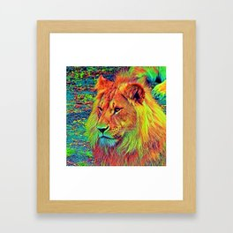 AnimalColor_Lion_004_by_JAMColors Framed Art Print