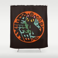 black cat Shower Curtains featuring Black Cat by BATKEI
