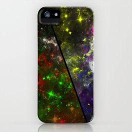 Parallel Universe - Split 'space' artwork showing 2 opposing galaxies iPhone Case