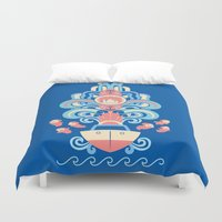 ponyo Duvet Covers featuring Ponyo Deco by Ashley Hay