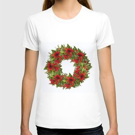 Red And Green Wreath On A White Background - Arrangement Of Flowers And Berries #decor #society6 T-shirt
