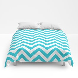 Classic Chevron Pattern in Cyan and White Comforters