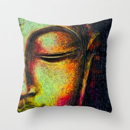 Buddha portrait Throw Pillow