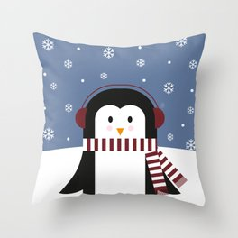 little penguin in snow Throw Pillow
