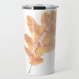 Yes You Can Pointillism Oak Leaf Painting Travel Mug
