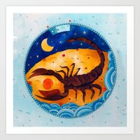 scorpio Art Prints featuring Scorpio by Sandra Nascimento