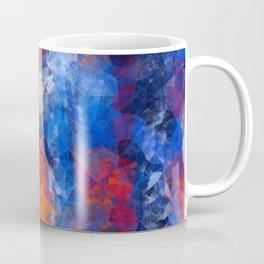 psychedelic geometric polygon shape pattern abstract in red orange blue Coffee Mug
