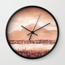 Monochromatic Landscape Painting Wall Clock