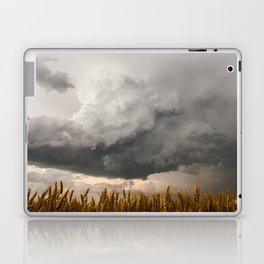 Marshmallow - Storm Cloud Over Golden Wheat in Kansas Laptop & iPad Skin