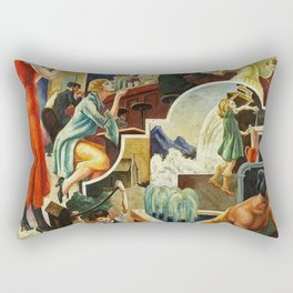 Classical Masterpiece 'The History of Water' by Thomas Hart Benton Rectangular Pillow
