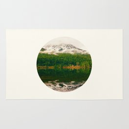 Mid Century Modern Round Circle Photo Graphic Design Reflective Snow Mountain Green Forest Rug