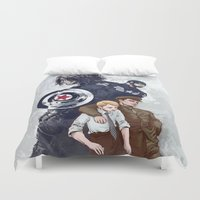 bucky Duvet Covers featuring Until the end of the line by Irene Flores