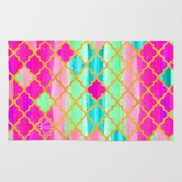 Moroccan Tile Pattern In Neon Pink And Green Rug