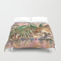 tigers Duvet Covers featuring Thirsty Tigers by Judith Chamizo