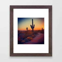 A Cactus Grows In Phoenix Framed Art Print