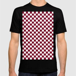 White and Burgundy Red Checkerboard T-shirt