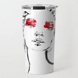 Red makeup. Fashion illustration Travel Mug