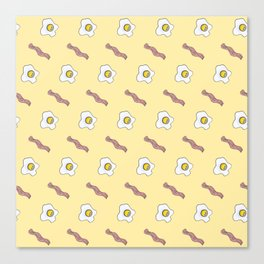 Eggs and Bacon Breakfast Foodie Funny Pattern Canvas Print