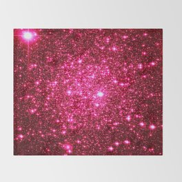 Hot Pink Glitter Galaxy Stars Throw Blanket
