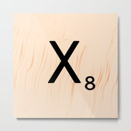 Scrabble Letter X - Scrabble Art and Apparel Metal Print