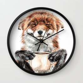 """ Morning fox "" Red fox with her morning coffee Wall Clock"