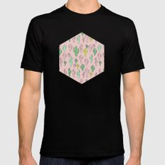 Green & Yellow Cactus on Pink Black Mens Fitted Tee MEDIUM