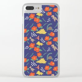 Dinosaurs in camellia garden Clear iPhone Case