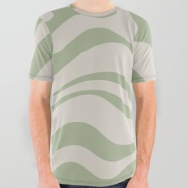 Liquid Swirl Abstract Pattern in Almond and Sage Green All Over Graphic Tee