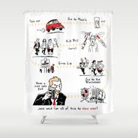 shaun of the dead Shower Curtains featuring Shaun of the Dead by Rob O'Connor