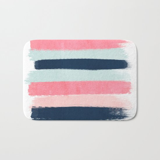 Striped painted coral mint navy pink pattern stripes minimalist Bath Mat
