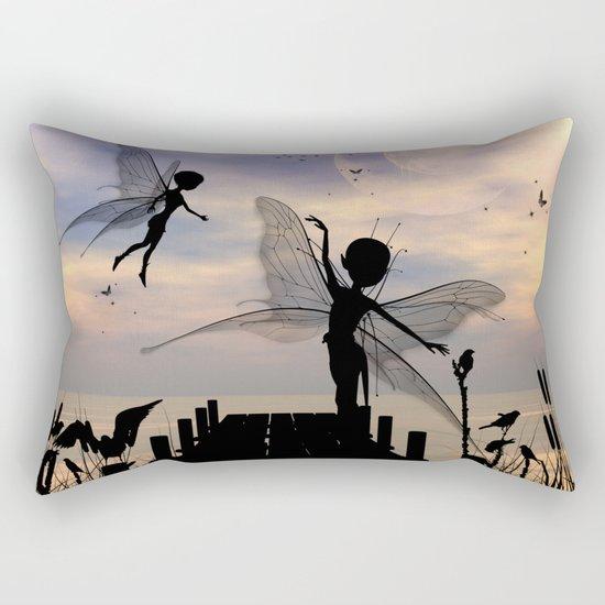 Cute fairy dancing on a jetty Rectangular Pillow