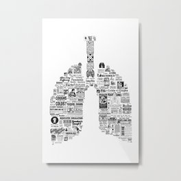 Pneuma -Vintage Respiratory Remedies- original lungs design for pulmonologist- respiratory therapist Metal Print