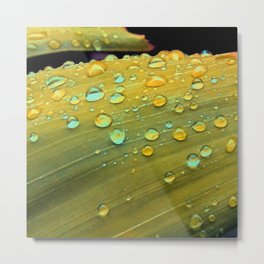 Spacey Raindrops in Mustard Yellow Metal Print