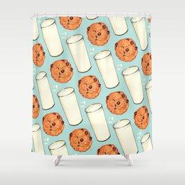 Milk & Cookies Pattern - Blue Shower Curtain