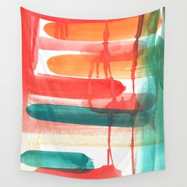 Abstract Watercolor Painting in Sunset Colors Wall Tapestry