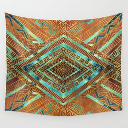 Tribal  Ethnic Boho Pattern burnt orange and gold Wall Tapestry