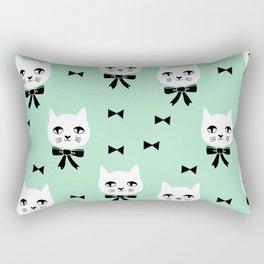 Cute Cats bow ties mint kittens cat art pattern design by andrea lauren Rectangular Pillow