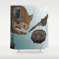 bats Shower Curtains featuring Bats by Akira Hikawa