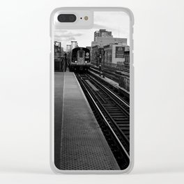 Black and White J Train Clear iPhone Case