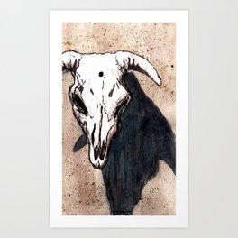 Corrales Cow Skull, Bullet Hole Art Print