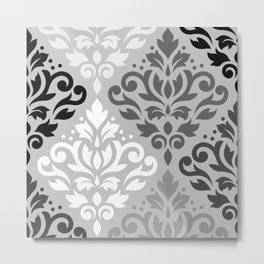 Scroll Damask Ptn Art BW & Grays Metal Print
