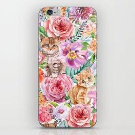 Kittens in flowers iPhone Skin