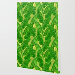Banana leaves watercolor pattern Wallpaper